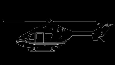 helicopter aircraft side view elevation  dwg block