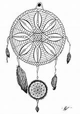 Coloring Pages Dream Catcher Printable Adult Tattoo Dreamcatcher Adults Tattoos Dreamcatchers Traditional Arrow Native Bow American Mandalas Tatoo Mandala Justcolor sketch template