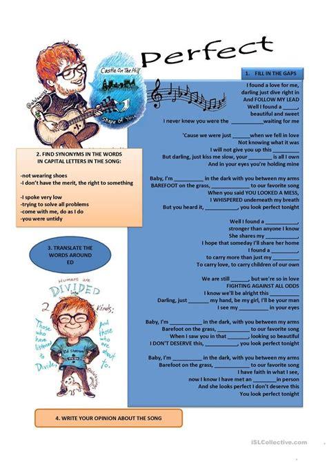 song by ed sheeran worksheet free esl printable