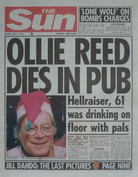 actor oliver reed predicted   death    tv