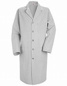 Red Kap Men 41 5 Inch Button Front Grey Medical Lab Coat