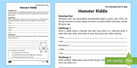 Hamsters are seen as harmless little guys who enjoy the occasional. Hamster Riddle Worksheet / Activity Sheet - Amazing Fact Of The