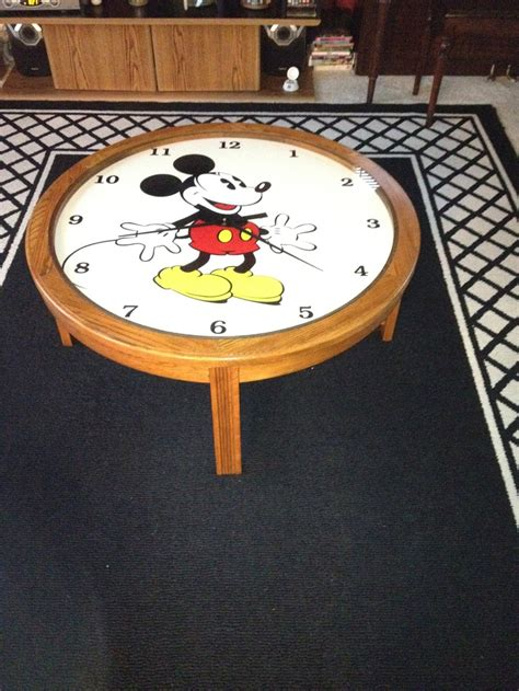 Who says your coffee table decor has to go on top of the table? Mickey Mouse working clock coffee table | Coffee Table Clock | Pinterest | Clock, Mickey mouse ...