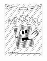 Notebook Writing Coloring Grade sketch template