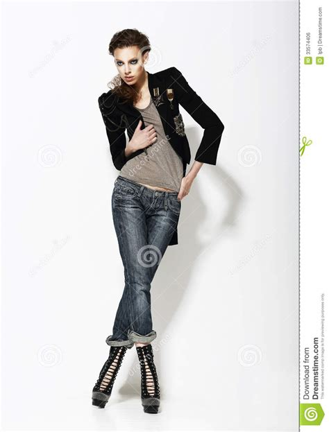 Vogue. Full Length Portrait Of Stylish Woman In Informal Pose Royalty Free Stock Image - Image ...