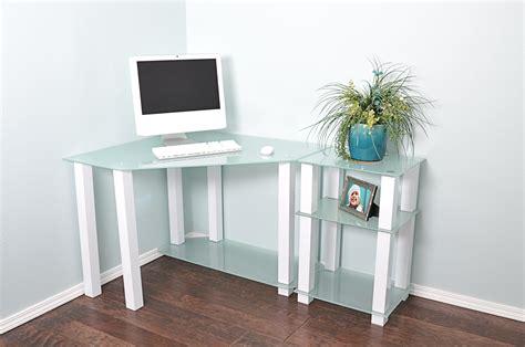 modern corner desk modern white glass corner desk with 20 quot extension