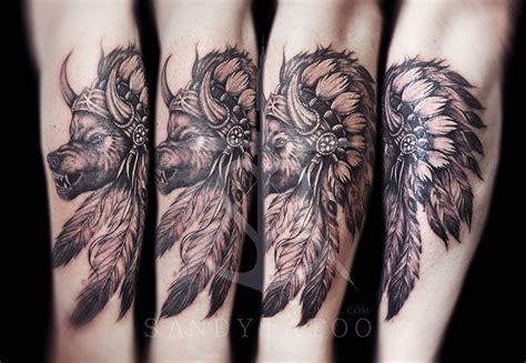 tatouage loup indien sandytatoo