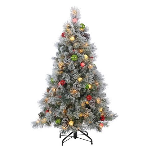 sterling nine foot flocked led trees sterling 4 5 ft pre lit flocked needle pine tree with ornaments 5860 45c the