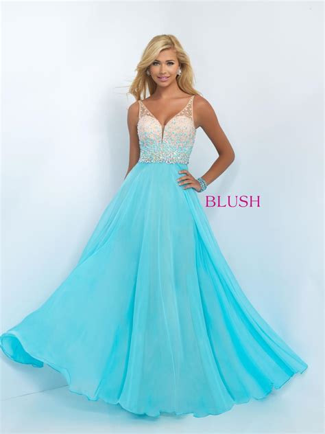 blush  dazzling chiffon prom gown french novelty