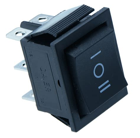Off Momentary Large Black Rectangle Rocker Switch