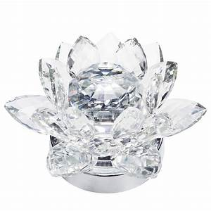 1 Light LED Lotus Style Crystal Table Lamp - Chrome From