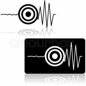 Icon Set Showing A Line Measured By A Seismograph With A