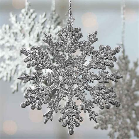 silver glittered snowflake ornaments christmas ornaments