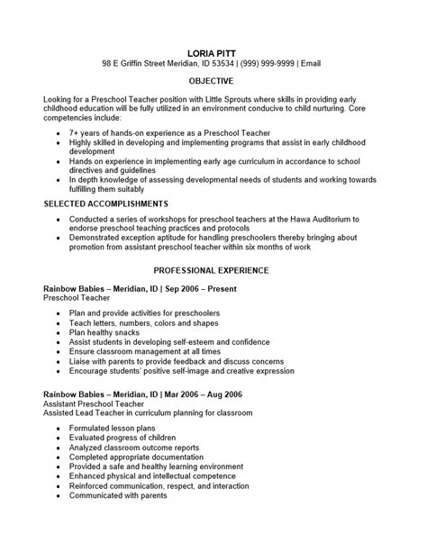 sample resume for preschool teacher preschool resumes best resume collection 791