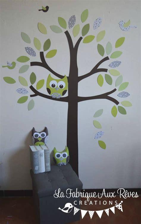 arbre déco chambre bébé stickers arbre vert anis amande kaki chocolat marron gris