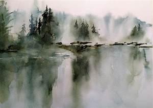 lake watercolor landscape watercolor illustration
