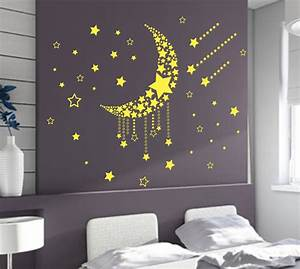 Large moon stars wall art vinyl stickers diy bedroom wall for Bedroom wall art