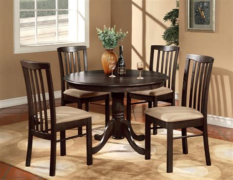 kitchen tables furniture 5pc round 42 quot kitchen dinette set table and 4 wood or upholstered chairs walnut ebay