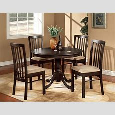 "5pc Round 42"" Kitchen Dinette Set Table And 4 Wood Or"