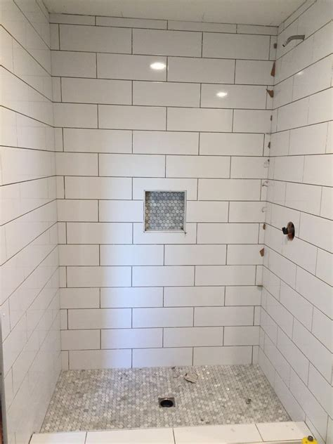 Bathroom Tile Shower Design by Large Subway Tile With Mosiac Shower Pan And Niche