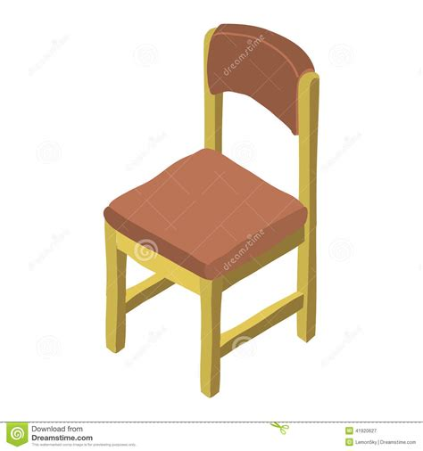 vector cartoon isometric wood chair icon stock vector image 41920627