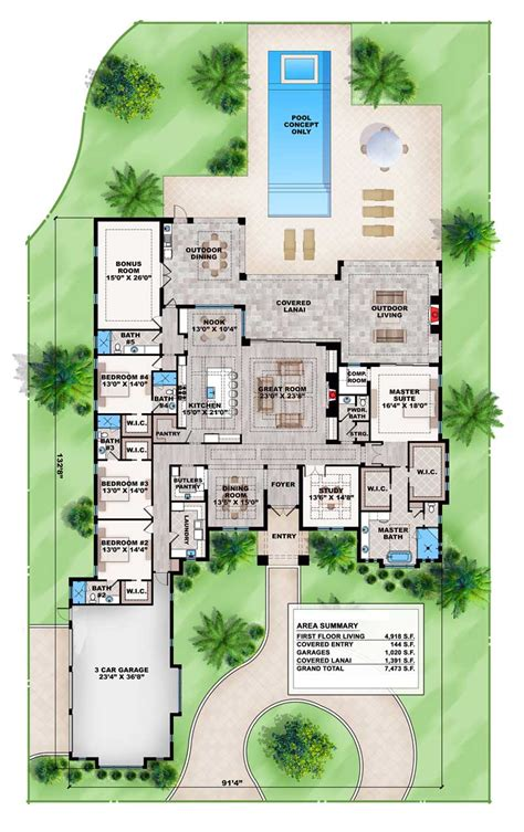 Outdoor Living Floor Plans by Contemporary House Plan With Outdoor Living And Dining
