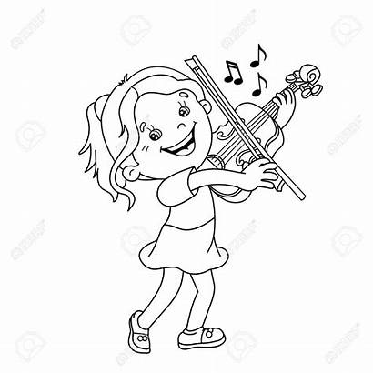 Violin Playing Coloring Cartoon Outline Instruments Cello