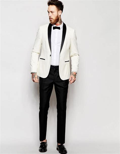 cs slim casual asos slim fit tuxedo suit white jacket black trouser