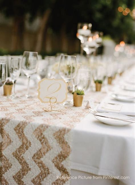 sale sequin table runner sparkly chevron white rose gold