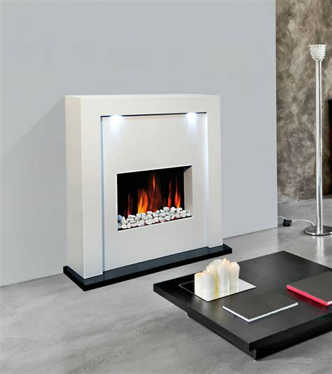 new designer free standing electric fireplace white