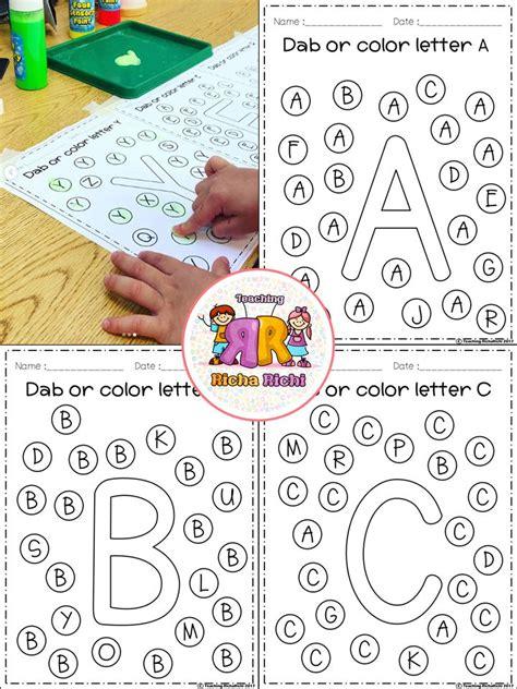 alphabet dab   kindergarten worksheets