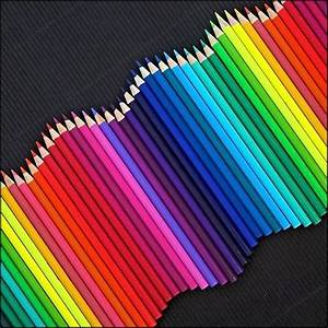 Rhythm - the colour pencils are arranged in a wave-like ...