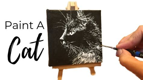 The effect of gouache on canvas can be best described as similar to watercolor, but heavier and more opaque. Cat Painting Tutorial in Black and White on Mini Canvas (EASY) - YouTube