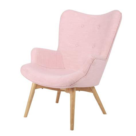 chaise coloniale scandinavian pink fabric armchair iceberg maisons du monde