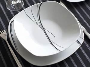 Service De Table Carr 30 Pices En Porcelaine ZIGZAG