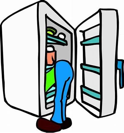Refrigerator Clipart Cleaning Cartoon Woman Head Inside