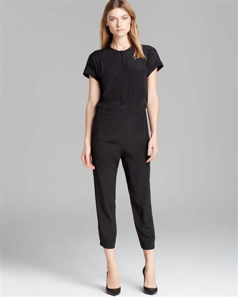 vince jumpsuit vince jumpsuit zip silk in black lyst