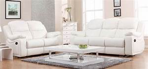 White Leather Sofas Reina Point White Leather 4 Pc