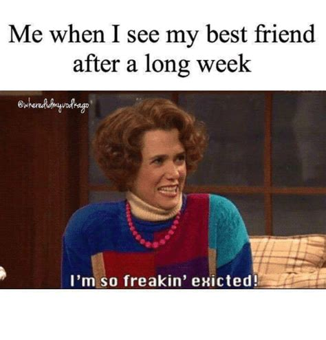 Best Friend Memes - me when i see my best friend after a long week i m so freakin exicted best friend meme on sizzle
