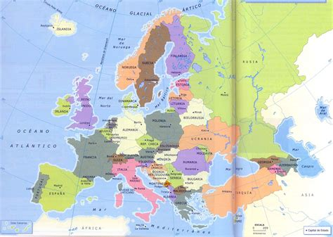 Paises Capitales Europa Mapa
