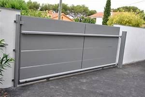 Portail Coulissant Sur Rail : pose d 39 un portail coulissant en aluminium et d 39 un ~ Edinachiropracticcenter.com Idées de Décoration