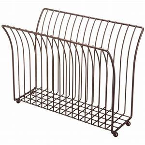 Free Standing Magazine Rack Oil Rubbed Bronze in Floor