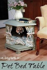 Hometalk Repurposed Side Table To Posh Pet Bed