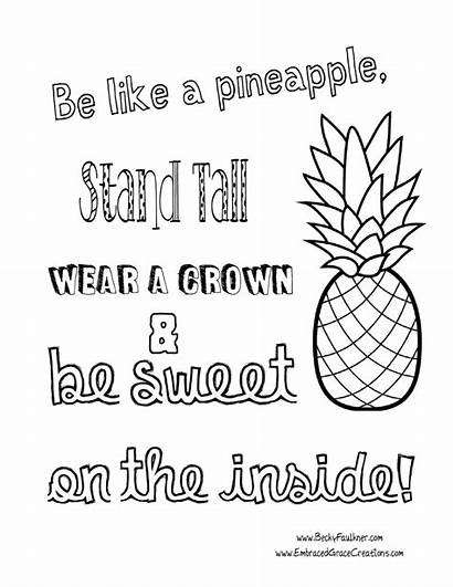 Coloring Pages Pineapple Adult Quote Printable Adults