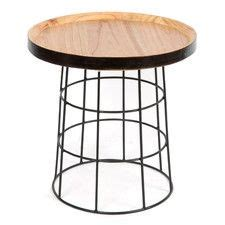 jaha occasional wooden table metal legs side table