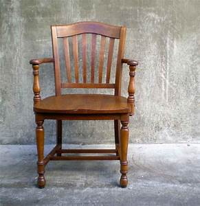 Wood, Antique, Office, Chair, For, Vintage, Look