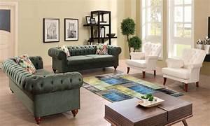 White, Green, Luxury, Sofa, Set