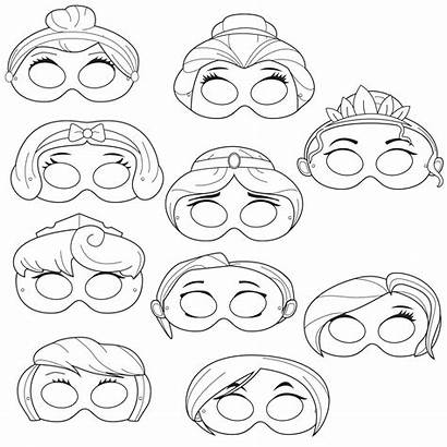 Masks Printable Coloring Princess Mask Princesses Disney
