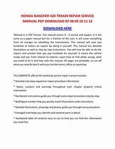 Honda Rancher Es Manual 420 Repair