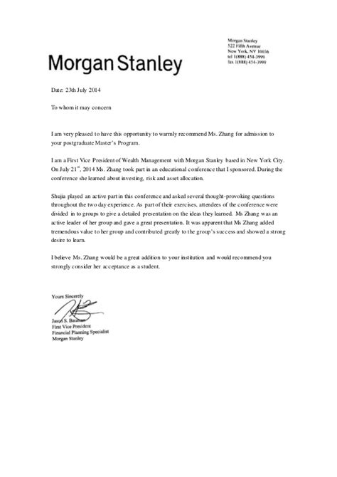 zhang recommendation letter